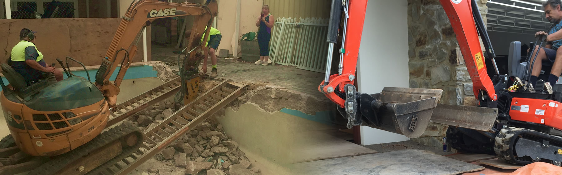 Earthmoving adelaide excavation adelaide pool demolition for Pool show adelaide 2018